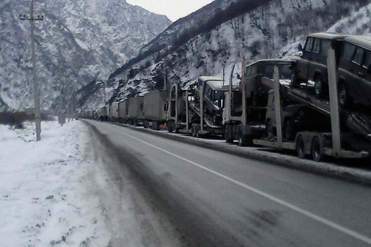 Верхний Ларс закрыт для грузовых машин