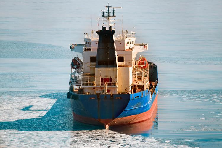 ВВолго-Каспийском канале вмерзло влед иранское судно