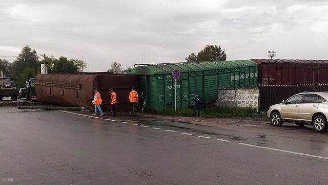 Вподмосковном Егорьевске сошел срельсов грузовой состав